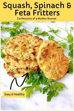 squash spinach & feta fritters